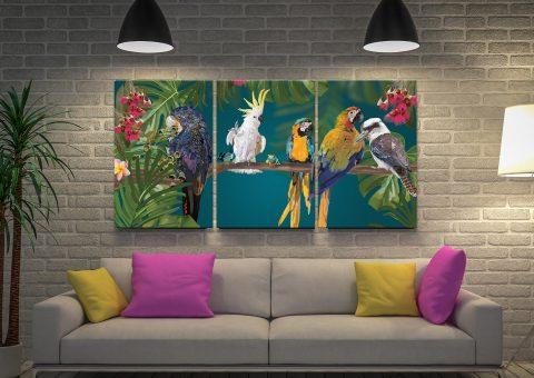Party of Friends Triptych Aussie Birds Art