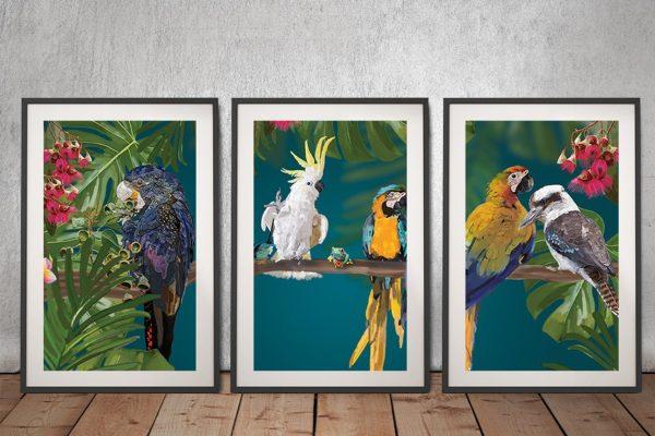 Party of Friends 3-Panel Aussie Birds Set