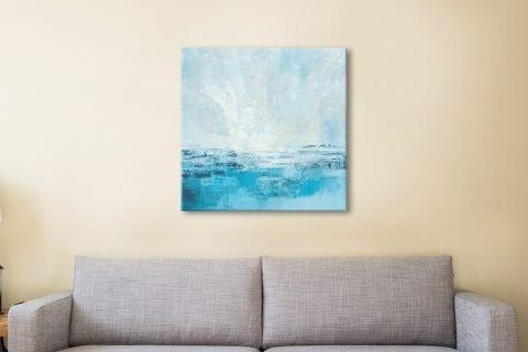 Ready to Hang Aqua Seascape Abstract Art