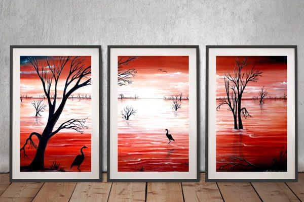 Crimson Skies Framed 3-Panel Wall Art