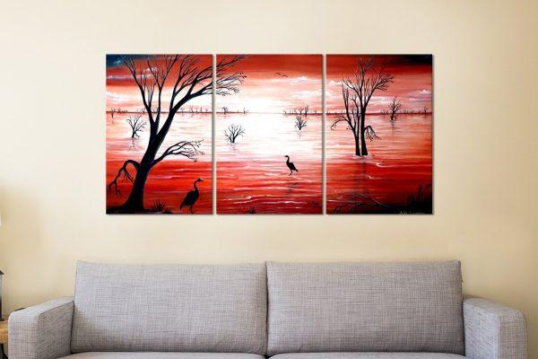 Ready to Hang Crimson Skies Split Panel Art