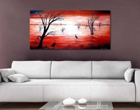 Crimson Skies Ready to Hang Panoramic Art