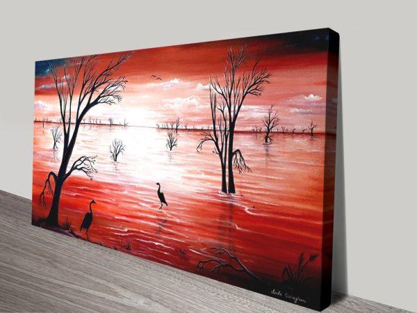 Crimson Skies Panoramic Abstract Artwork