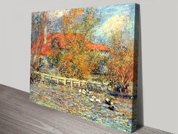 Duck Pond Landscape Classic Art on Canvas