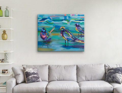 Indigo Gulls Abstract Watercolour Print AU