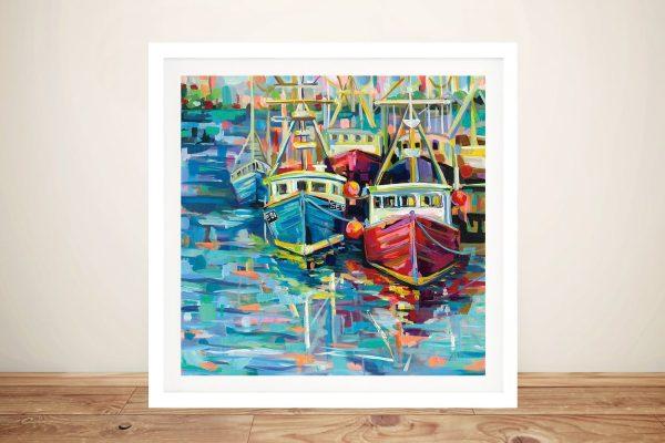 Stonington Docks Framed Art on Canvas