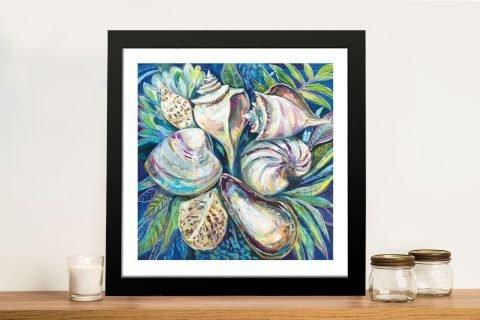 Tropical Framed Seashell Print on Canvas