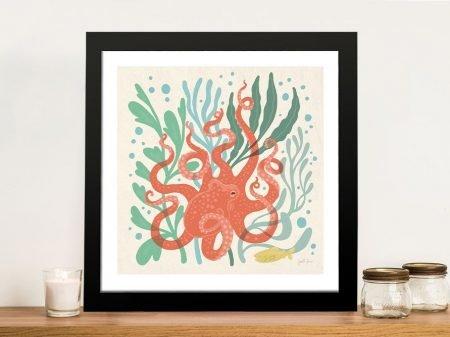 Under the Sea lll Framed Abstract Octopus Art