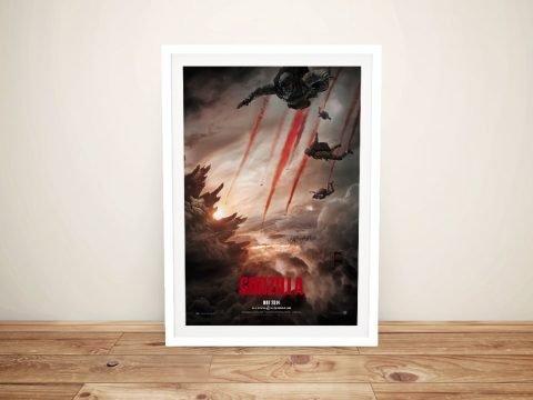 Framed Stretched Canvas Godzilla Poster