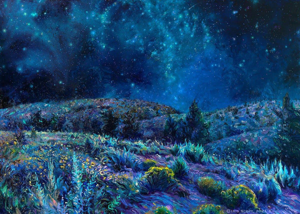 iris scott finger painting night sky