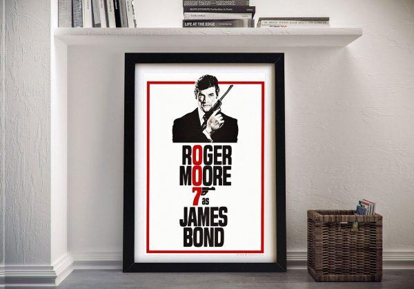 Roger Moore Framed 007 Movie Poster AU