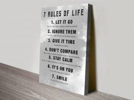 7 Rules Motivational Canvas Wall Art