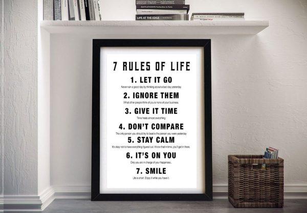 Framed 7 Rules Art Great Gift Ideas Online