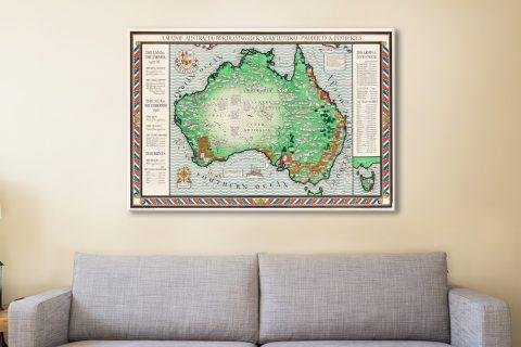 Map of Australian Vintage Art Cheap Online