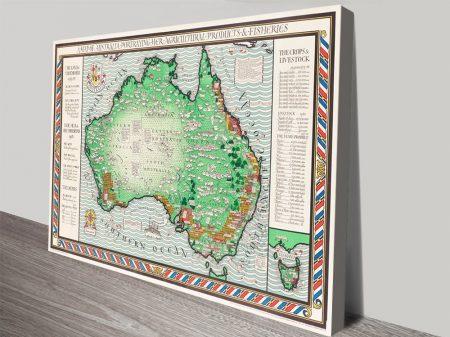 Buy an 1930's Australian Map on Canvas