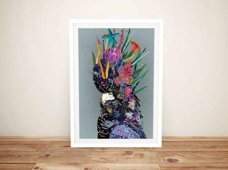 Framed Abstract Black Cockatoo Artwork