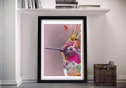 Framed Hummingbird Colourful Abstract Art