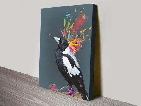 Abstract Magpie Stretched Canvas Print