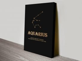 Aquarius Star Sign Black & Gold Wall Art
