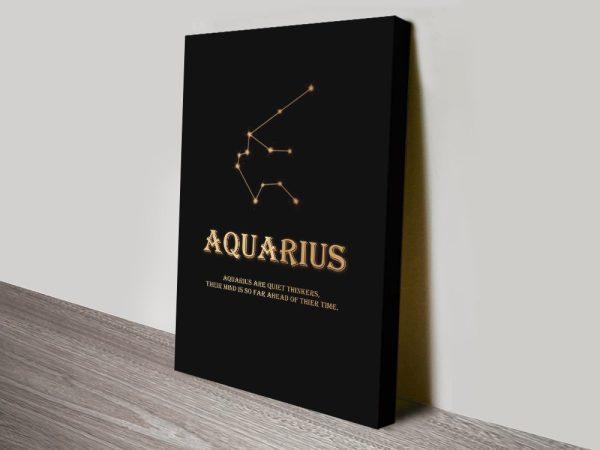 Aquarius Star Sign Black & Gold Wall Art