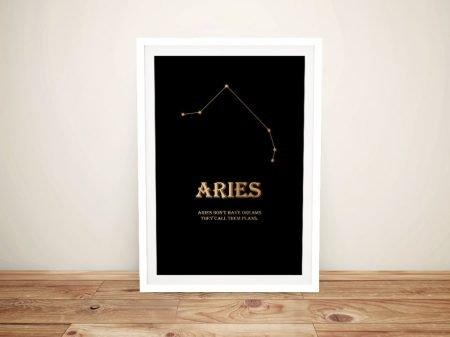 Buy a Framed Aries Black & Gold Print