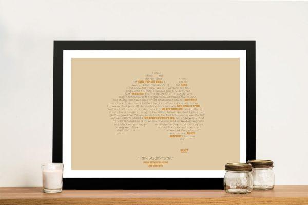 I Am Australian Framed Word Map on Canvas