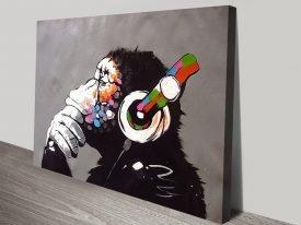Banksy DJ Monkey Canvas Print