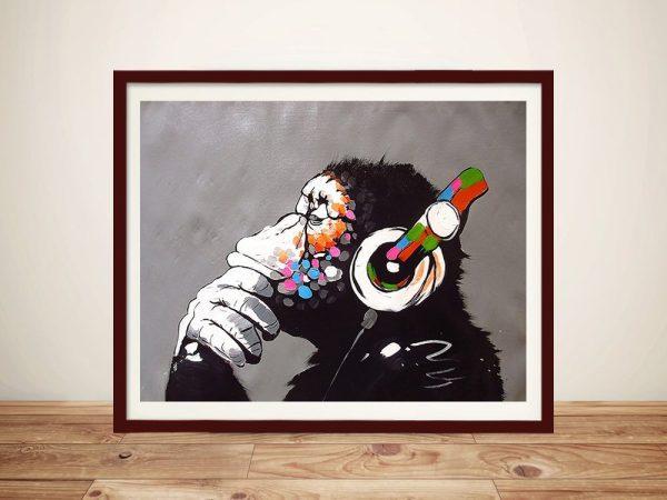 Banksy DJ Monkey Framed Print
