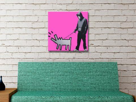 Dog & Man Ready to Hang Banksy Print AU
