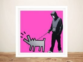 Dog & Man Framed Banksy Street Art