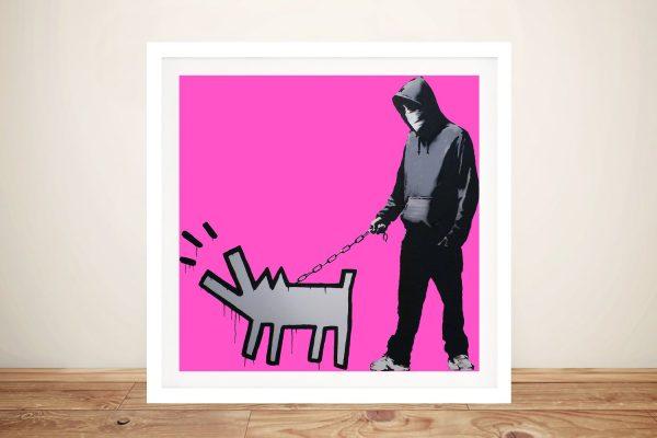 Dog & Man Framed Banksy Street Art