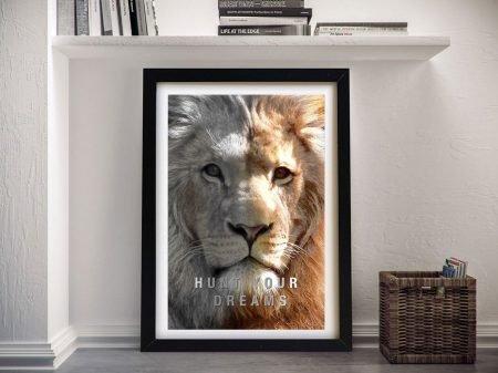 Framed Hunt Your Dreams Lion Artwork