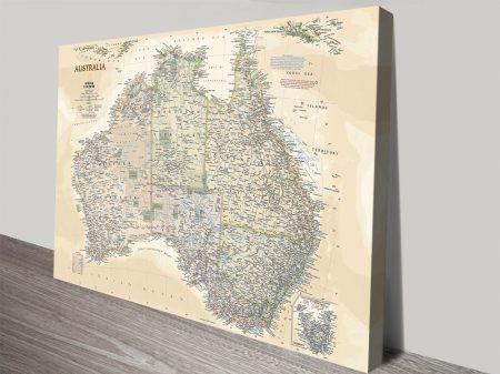 Nat Geo Vintage Effect Map of Australia