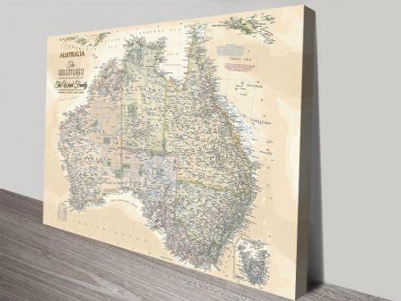 Vintage Australia Personalised Pushpin Map