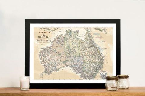 Vintage Australia Custom Pushpin Map
