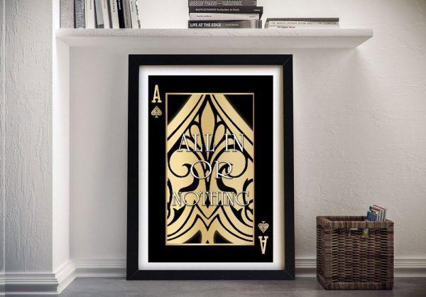 Framed Playing Card Inspirational Artwork