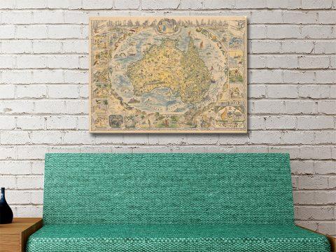 Vintage Map of Australia Great Gift Ideas AU