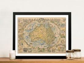 Australia 1856 Vintage MapArt on Canvas
