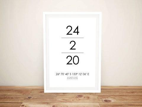 Date& Place Custom CoordinatesArt