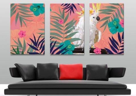Fern Cocky Ready to Hang Triptych Art AU