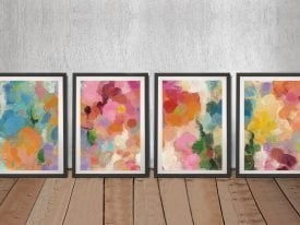 Colourful Garden Abstract Quad Art Set