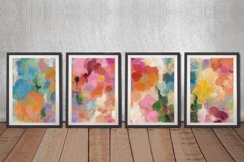 Colourful Garden Abstract Quad Art Set