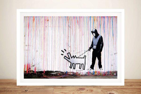 Colourful Rain Banksy Inspired Wall Art