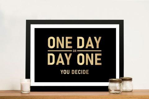 One Day Framed Inspirational Art for Sale
