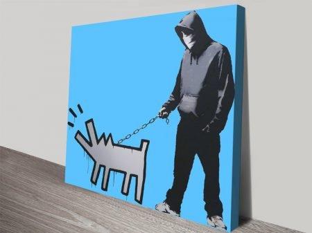 Dog Man Pastel Blue Graffiti Wall Art