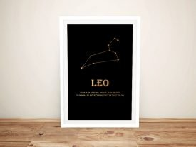 Leo Framed Motivational Star Sign Wall Art