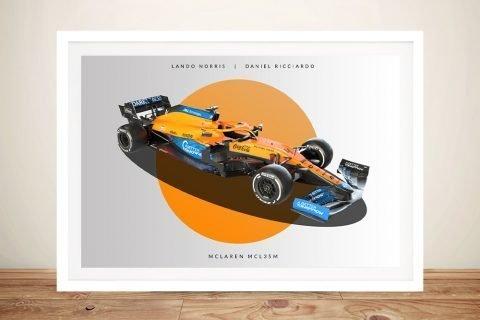 Framed McLaren F1 2021 Racing Car Wall Art