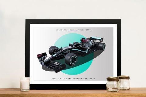 Framed Mercedes F1 Racing Car Artwork