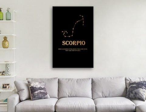 Scorpio Gold on Black Star Sign Artwork AU