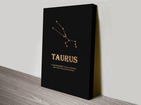 Taurus Black & Gold Print on Canvas